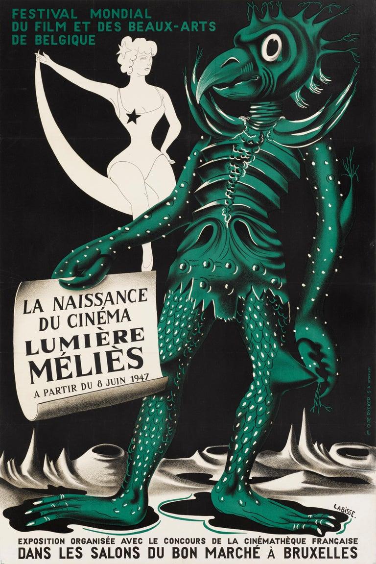 Original Belgian film poster for the Festival Mondial du Film Beau-Arts de Belgique (La Naissance du Cinema Lumiere Melies) Mondial du Film et Des Beaux-Artsheld in Brussels, Belgium in June 1947, one of the first film festivals to this
