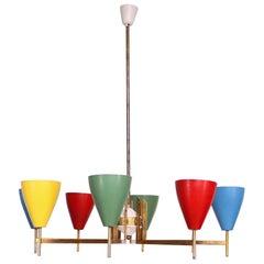 Festive Italian Multicolored Modernist Chandelier Lamp Arredoluce Italy 1950s