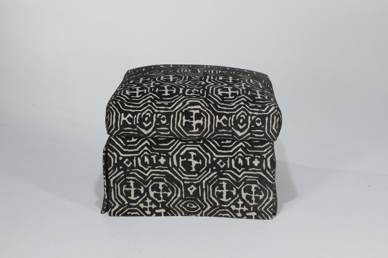 Fetching Black and White Club Chair and Ottoman in Chic Tribal Upholstery For Sale 5