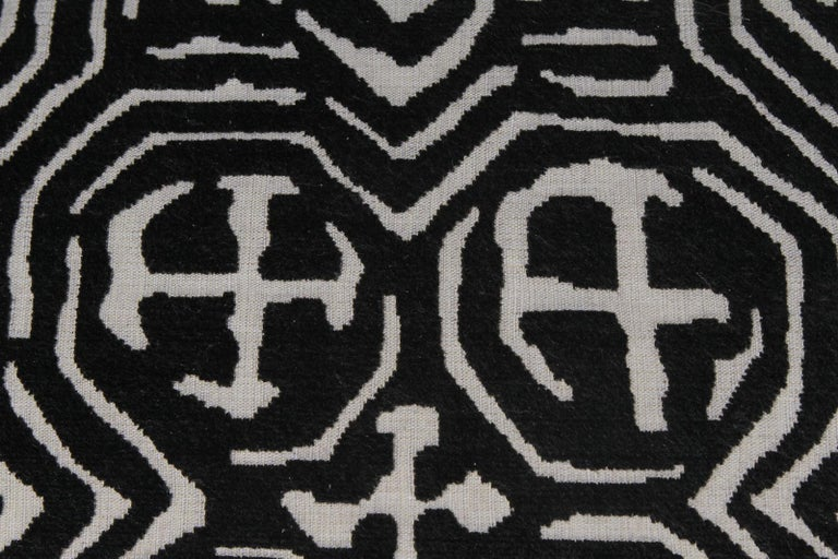 American Fetching Black and White Club Chair and Ottoman in Chic Tribal Upholstery For Sale