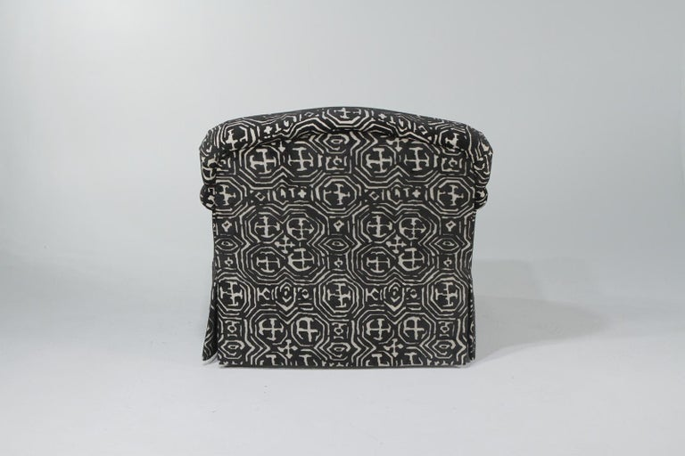 Fetching Black and White Club Chair and Ottoman in Chic Tribal Upholstery For Sale 1