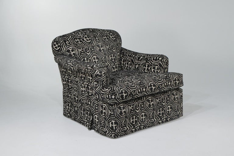 Fetching Black and White Club Chair and Ottoman in Chic Tribal Upholstery For Sale 2