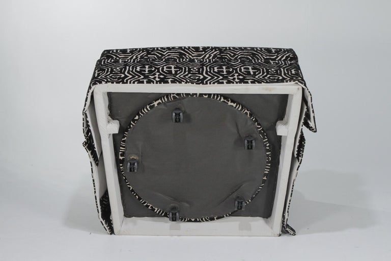 Fetching Black and White Club Chair and Ottoman in Chic Tribal Upholstery For Sale 3