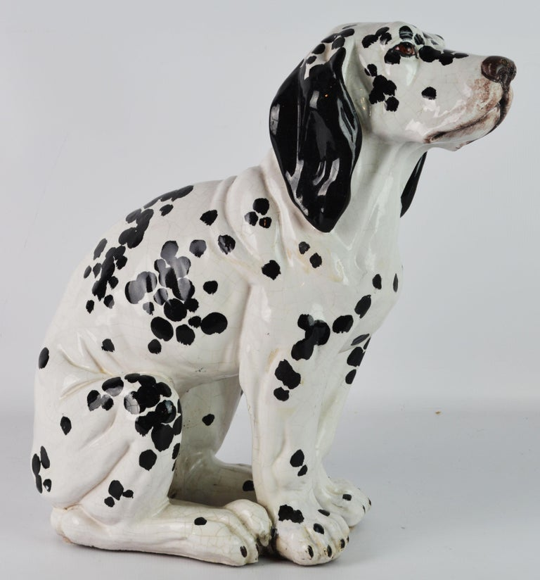 Mid-Century Modern Fetching Italian Midcentury Glazed Terracotta Figure of a Dalmatian Puppy For Sale
