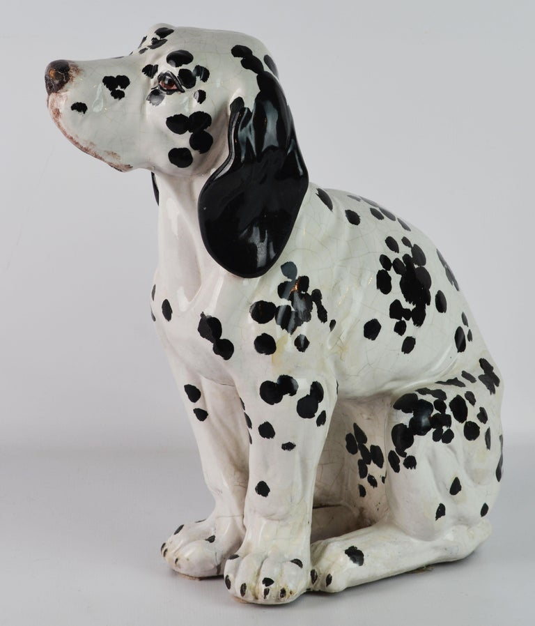 20th Century Fetching Italian Midcentury Glazed Terracotta Figure of a Dalmatian Puppy For Sale