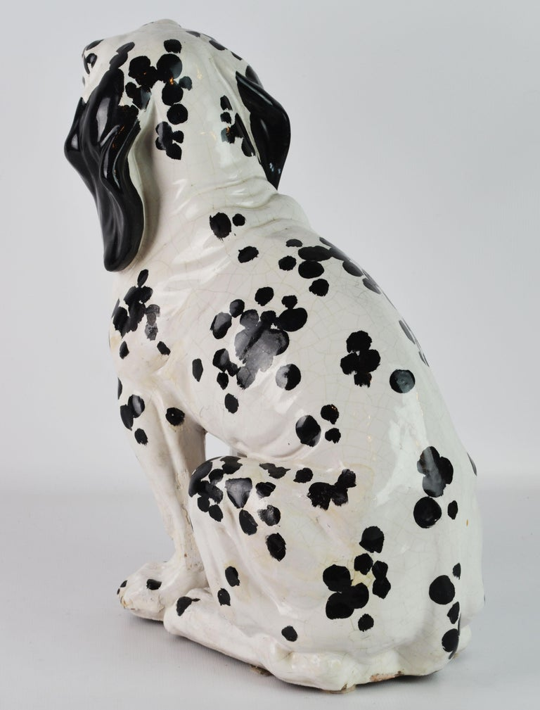 Fetching Italian Midcentury Glazed Terracotta Figure of a Dalmatian Puppy For Sale 1
