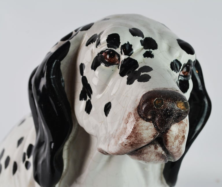Fetching Italian Midcentury Glazed Terracotta Figure of a Dalmatian Puppy For Sale 2