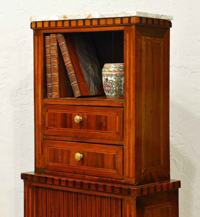 Veneer Fetching Small Austrian Italian Inlaid Tambour Door Chiffonier For Sale