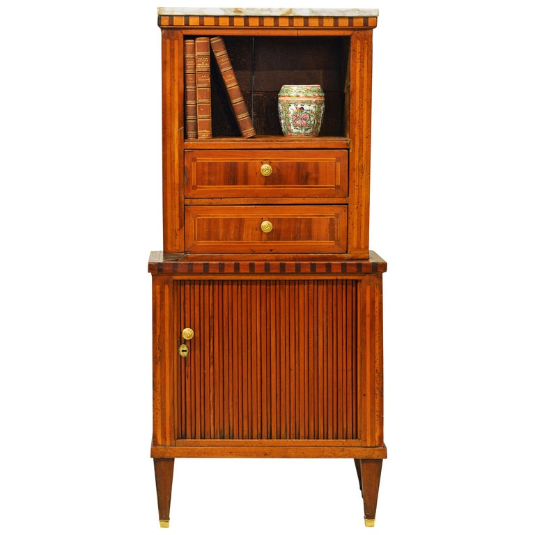 Fetching Small Austrian Italian Inlaid Tambour Door Chiffonier For Sale