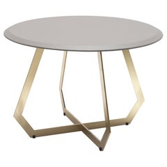 Fetish Brass and Grey Leather, Side Table, Large