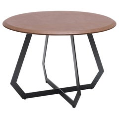 Fetish Table Black Metal and Brown Leather/ Large Side Table