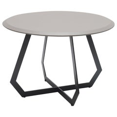 Fetish Table Black Metal and Grey Leather/ Large Side Table