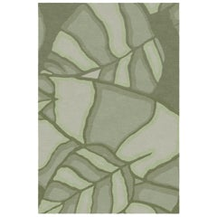Feuilles Custom Made Hand Knotted Sage Green Wool Rug by Allegra Hicks