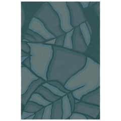 Feuilles Custom Made Hand Knotted Teal Blue Wool Rug by Allegra Hicks