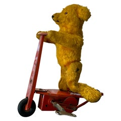 """Fewo """"Bear on Pedal Scooter"""", Mechanical Tin Toy, 1950s"""