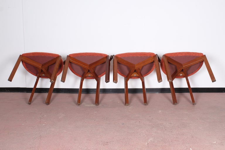 FF Caffrance 1960 Modern Design Teak Wooden Chairs For Sale 7
