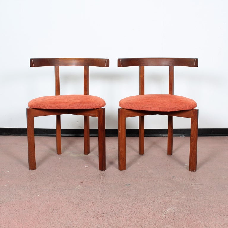 Mid-Century Modern FF Caffrance 1960 Modern Design Teak Wooden Chairs For Sale