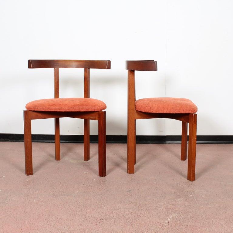 Danish FF Caffrance 1960 Modern Design Teak Wooden Chairs For Sale