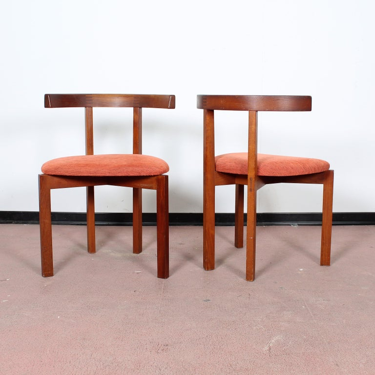 FF Caffrance 1960 Modern Design Teak Wooden Chairs In Good Condition For Sale In Palermo, IT