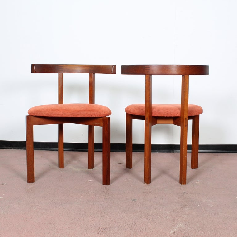 Mid-20th Century FF Caffrance 1960 Modern Design Teak Wooden Chairs For Sale