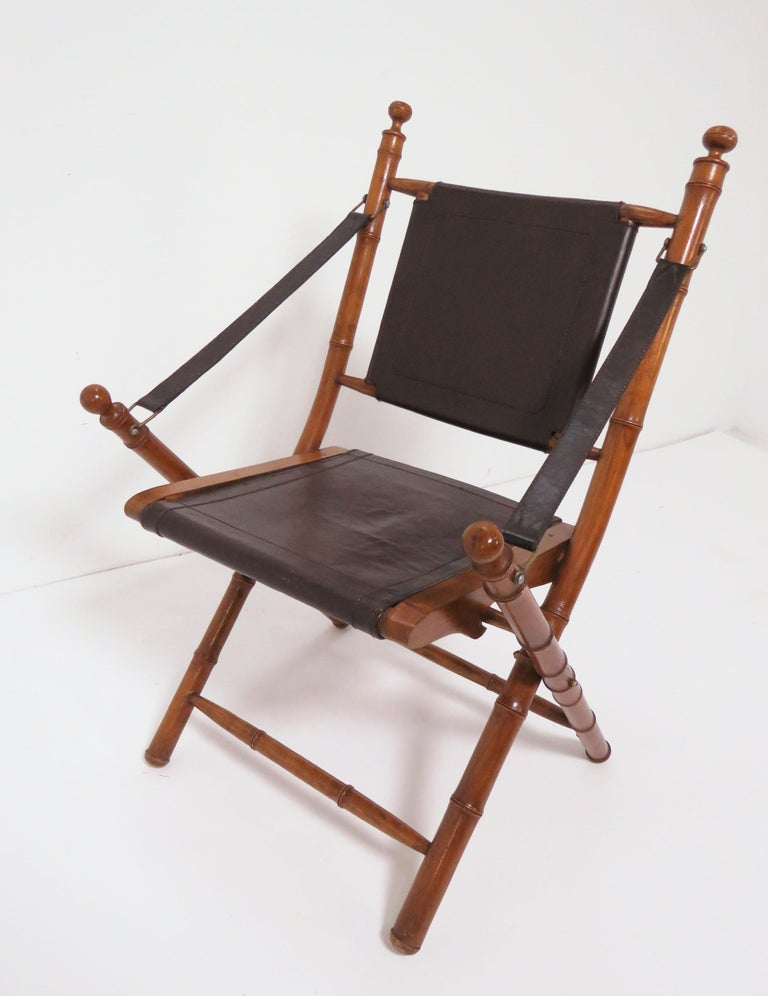 Faux Bamboo Folding Campaign Chair, Folding Leather Campaign Chair