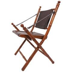 Faux Bamboo Folding Campaign Chair, circa 1960s