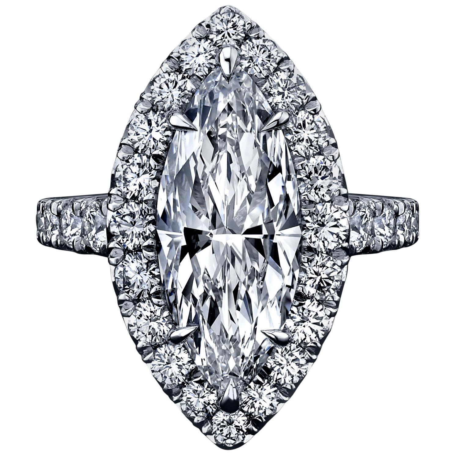 FIA Certified Elegant 3.80 Carat Marquise Diamond Ring
