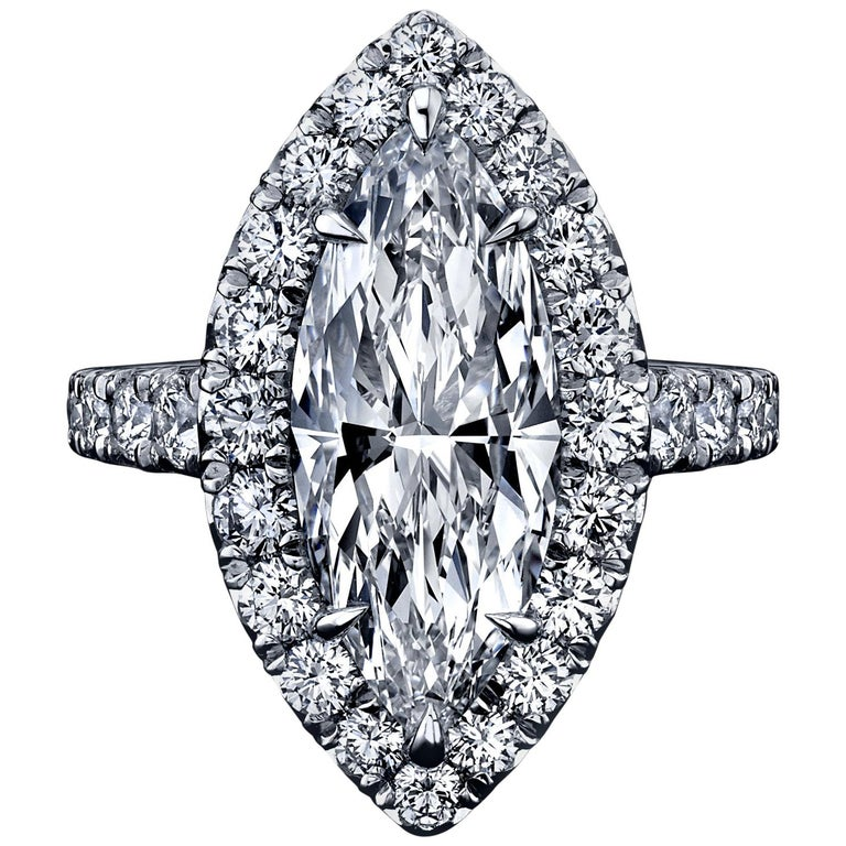 FIA Certified Elegant 3.80 Carat Marquise Diamond Ring For Sale