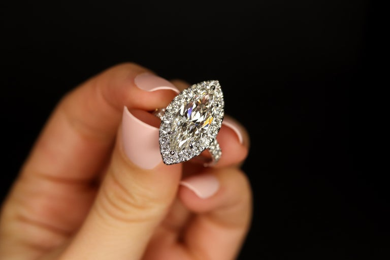 FIA Certified Elegant 3.80 Carat Marquise Diamond Ring In New Condition For Sale In Calabasas, CA