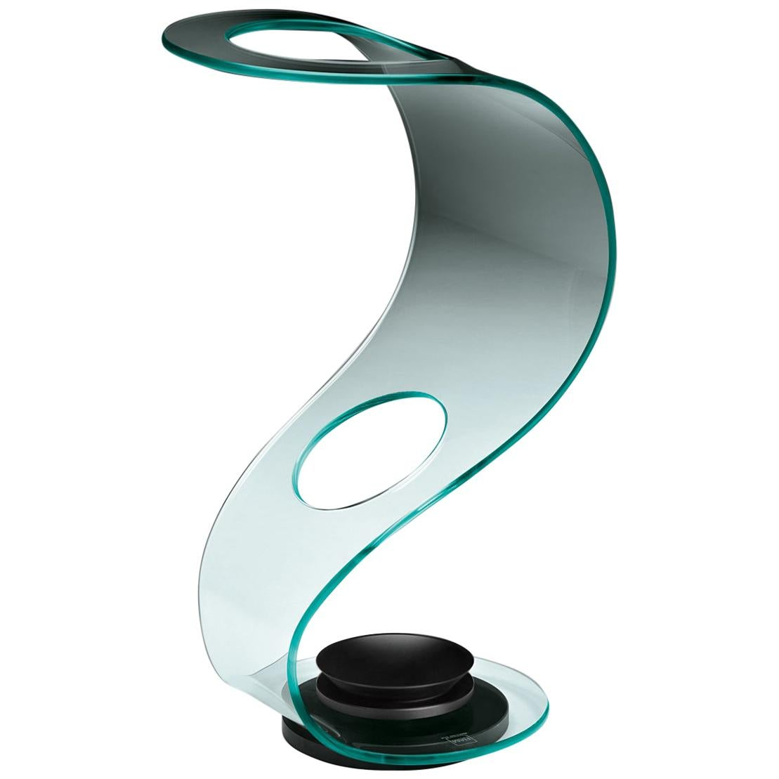 Fiam Cobra 016 Umbrella Stand in Curved Glass with Metal Base, by Elio Vigna