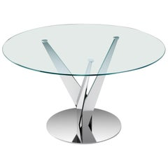 Fiam Epsylon 4200/AC Round Table in Transparent Glass Top by Fabio Di Bartolomei