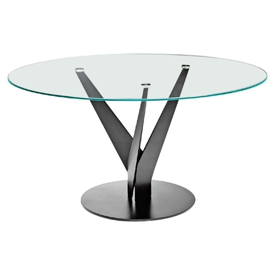 Fiam Epsylon 4200/AC Round Table Transparent glass top by Fabio Di Bartolomei