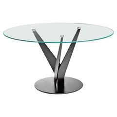 Fiam Epsylon 4200/OB Round Table in Bronze Glass Top, by Fabio Di Bartolomei