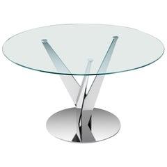 Fiam Epsylon 4210/AC Round Table in Transparent Glass Top by Fabio Di Bartolomei