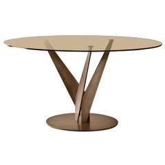 Fiam Epsylon 4210/OB Round Table in Bronze Glass Top, by Fabio Di Bartolomei