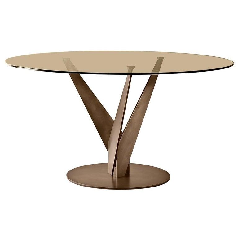 Fiam Epsylon 4210/OB Round Table in Bronze Glass Top, by Fabio Di Bartolomei For Sale