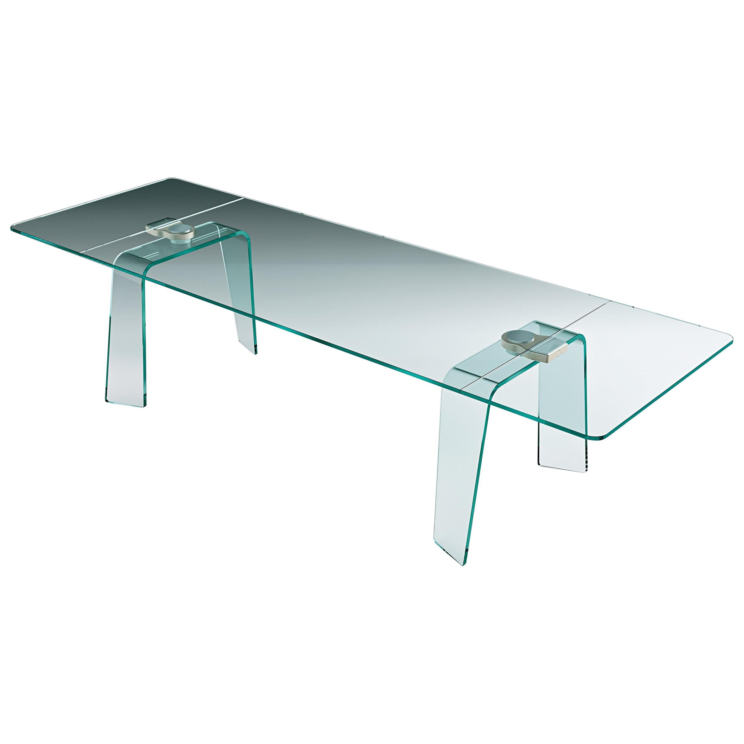 Fiam Kayo KY/2010 Extendible Table in Tempered Glass, by Satyendra Pakhalé
