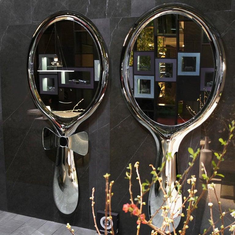 Modern Fiam Lollipop LP/200 Freestanding Mirror in Silvered Glass, by Marcel Wanders For Sale