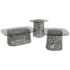 Fiam Macrame MC/50FU Coffee Table with Fume Grey Glass Top, by Lucidi & Pevere