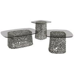 Fiam Macrame MC/60FU Coffee Table with Fume Grey Glass Top, by Lucidi & Pevere