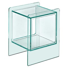 Fiam Magique Cubo MQC/3834 Bedside Table with Cube in Glass, by Studio Klass