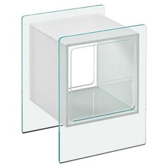 Fiam Magique Cubo MQC/3834XB Bedside Table in Glass with Cube, by Studio Klass