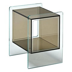 Fiam Magique Cubo MQC/3834XBR Bedside Table in Glass with Cube, by Studio Klass