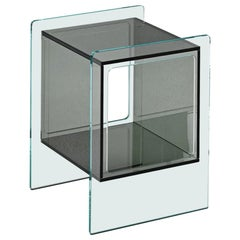Fiam Magique Cubo MQC/3834XG Bedside Table in Glass with Cube, by Studio Klass