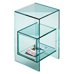 Fiam Magique MQ/32 Coffee Table with Cube in Transparent Glass, by Studio Klass
