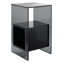 Fiam Magique MQ/32GN Coffee Table in Smoke Grey Glass with Cube, by Studio Klass