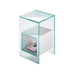 Fiam Magique MQ/32XB Coffee Table in Glass with Opal White Cube, by Studio Klass