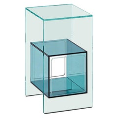 Fiam Magique MQ/32XBL Coffee Table in Glass with Blue Cube, by Studio Klass