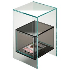 Fiam Magique MQ/32XG Coffee Table in Glass with Smoke Grey Cube, by Studio Klass