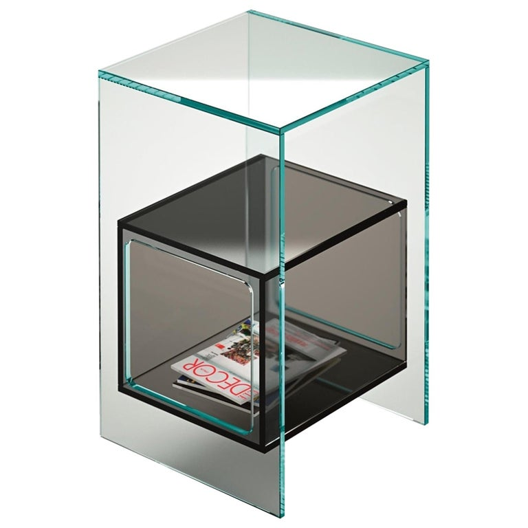 Fiam Magique MQ/32XBL Coffee Table in Glass with Blue Cube